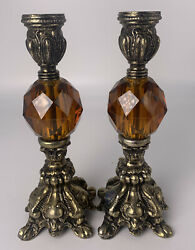 """Pair Vintage Gold Baroque Candlestick Holders Amber Resin 8"""""""