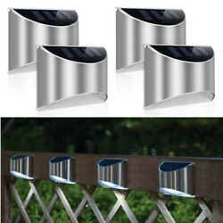 Solar 4 Led Wall Lights Gutter Fence Garden Stairs Step Outdoor Lamp Waterproof