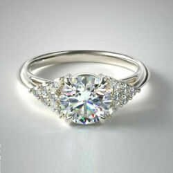 0.84 Ct Real Diamond Women Engagement Rings Solid 14k White Gold Ring Size 7 8 9