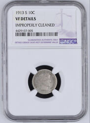1913 S Barber Dime Ngc Vf Details Cleaned Silver Coin 10c San Francisco