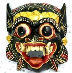Hand Carved Wooden Painted Chinese Tribal Face Mask Wall Hanging Ornament Vintag