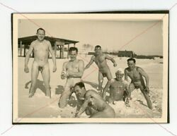German Ww2 1930s Era Photo Nude Naked Male Soldiers Gay Interest Vtg Antique Pic