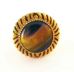 14k Gold Tiger Eye Ring Color Changing Great Setting Vintage Magical Size 6-1/4