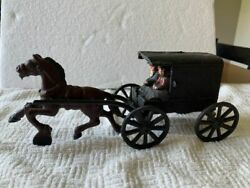 Rare Vintage Toy Amish Horse And Buggy Cast Iron Toy