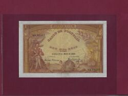 Portugal 10000 Reis 1908 P-81 Ef-au Extremely Rare In This Grade
