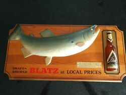 Rare Vintage 1966 Blatz Beer Coho Salmon Fish 3-d Wooden Beer Sign Good Cond
