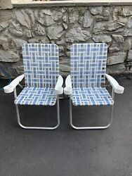 Vintage Aluminum Webbed Folding Lawn Chairs Blue White With Cup Holders Pair