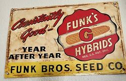 Vintage Funks Hybrids Embossed Metal Sign Feed Seed Farm Agriculture Gas Oil