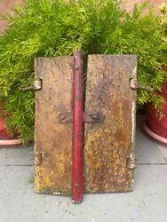 Indian Antique Old Wooden Handcrafted Cabinet Window Door With Iron Latch Lock