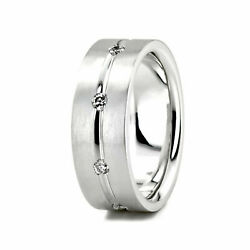 0.28 Ct Real Diamond Engagement Ring Solid 14k White Gold Men's Band Size 10 12