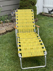Vintage Aluminum Webbed Folding Beach Lawn Chair Chaise Lounge Yellow Wood Arms