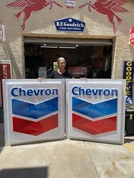 """Original Chevron Gas Station Sign Pair 53""""x46"""" Monster Sized Signs"""