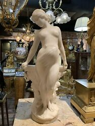 19 C. Hand Carved Beautiful Alabaster Statue Figurine Standing Nude Signed
