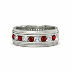 Real 0.60 Ct Ruby Sapphire Wedding Ring Solid 14k White Gold Men's Band Size 12