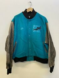 Vtg 1990's Nike Free Willy Wool Bomber Letterman's Jacket L Cast Crew Only Rare