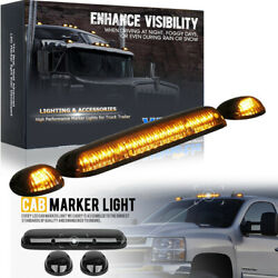 3x Roof Cab Marker Running Lights Amber Led For 02-07 Chevy Silverado Gmc Sierra