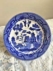 Vintage Blue Willow Saucer Japan C1960and039s White Kissing Birds Pagodas Lattice