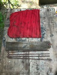 Vintage Railroad Train Conductor Engineer Flagman Red Signal Flag 1920 - 1960and039s