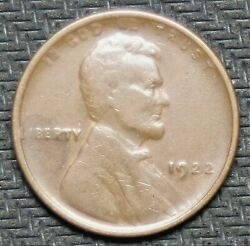 1922 Lincoln Cent - No D - Strong Reverse - Extra Fine - 36504