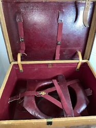 Victorian Red Leather Top Hat + Leather Travel Case By Army Navy Co-op Paris