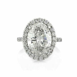 Oval Cut 3.95 Ct Moissanite Ladies Anniversary Ring Solid 14k White Gold 6 7 8