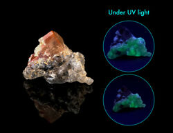 Topaz Cluster On Matrix With Fluorescent Hyalite Opal Glowing Thumbnile Minerals