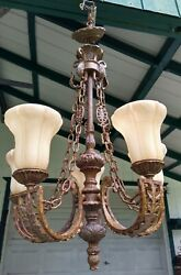 5 Light Chandelier 39 H Classic Design Heavy And Solid W/ Glass Shades