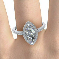 Marquise Cut 1.98 Ct Moissanite Wedding Ring For Women Solid 14k White Gold 7 8