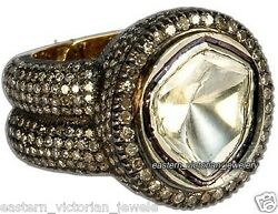 6.26ct Genuine Old Mine Rose Solitaire Antique Cut Diamond Silver Victorian Ring
