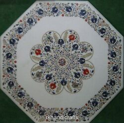 36 Inches Marble Reception Table Top Octagonal Dining Table From Cottage Crafts