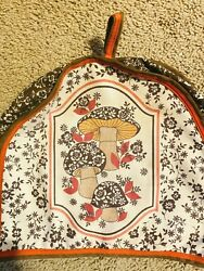Vintage 1970s Mushroom Quilted Fabric Toaster Cozy Cover