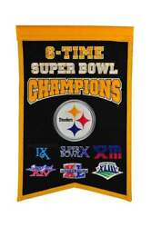 Pittsburgh Steelers 6 Time Super Bowl Champions Embroidered Wool Banner 14x22