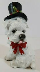 cute sweet christmas holiday white puppy dog figurine statue resin terrier