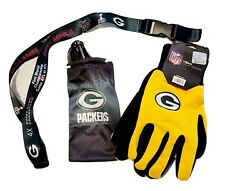 Green Bay Packers Nfl Football Utility Gloves And Sun Glass Pouch + Lanyard Set