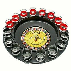 Drinking Roulette Player Fun Table Steel Balls Adult With 16 Shot Glass Russian