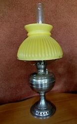 Miniature Antique Little Jewel Small Oil Lamp With Bright Yellow Shade