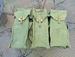 Lot Of 3 Vintage Belgian Army M51 Gas Mask Carriers Carrying Bag Cold War Era
