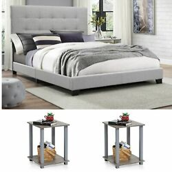 Full Size Bedroom Set Grey Modern Furniture Bed Headboard Wood Fabric End Table
