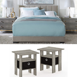 New Grey Bedroom Set Furniture 3 Piece Full Size Bed Nightstand Modern