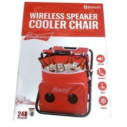 Budweiser Red Chair Cooler With Built In Bluetooth Speaker Tailgate Beach Pool