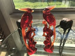 """Antique C1800s Chinese Cherry Red Amber Figurinesbird Of Paradise11 1/2 """""""