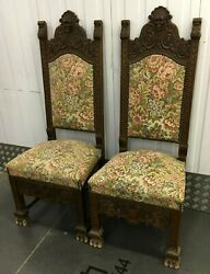 Large Antique Pair Of French Black Forest Chairs 19th Century Woodwork Faun
