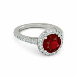 14k Solid White Gold Sale 2.50ct Natural Gemstone Ruby Round Cut Ring Size 7