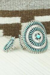 Turquoise And Sterling Silver Bracelet And Ring - Size 9 - Gerald Etsate