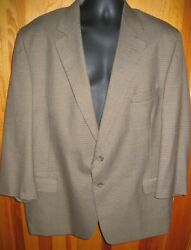 Vtg Mens Sz 50r Brown Houndstooth Blazer By Hardwick 2 Button Made In Usa