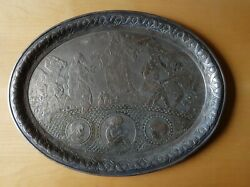 Antique Cooper Plated Silver German Plate Tray Biblical Judaica Collectible