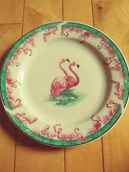 Tienshan Stoneware Tie24 Pink Flamingo Green And Pink Dinner Plate 10 3/4