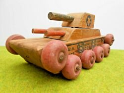 1940's Vintage N. D. Cass Co. Pull Toy 223 Us Army Tank 9 3/4 Vg