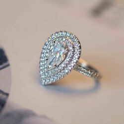 1.15ct Vs1 Diamond Engagement Ring 14k Solid White Gold Pear Cut Size 5 4