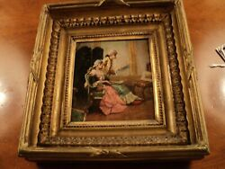 Antique Oil Painting French Woman And Man